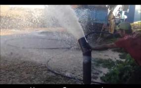 Продувка водозаборной скважины дизельным компрессором